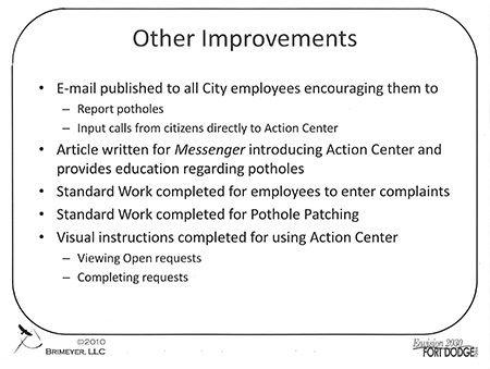 pothole kaizen other improvements